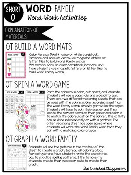 Short O Word Families Word Work Activities Bundle