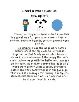 Short O Word Family Pack