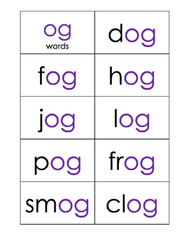 Short O Word Family Practice Cards