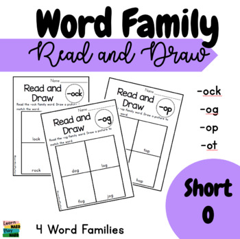 Short O Word Family Read and Draw- Pack 1