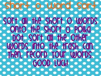Short O Word Sort Literacy Center Activity