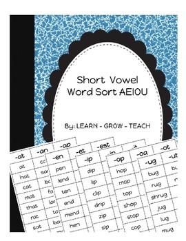 Short Vowel Word Sort - Partner Game - Short A, E, I, O, U