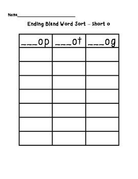 Short O Word Sort (op, og, ot)
