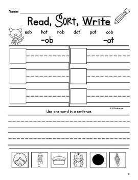 Short O Word Sorts, Read, Sort, Write