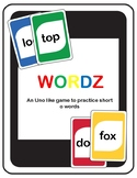 Short O Wordz (an Uno like game to practice short o words)