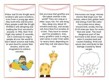 Short Passages for Grades 3-5