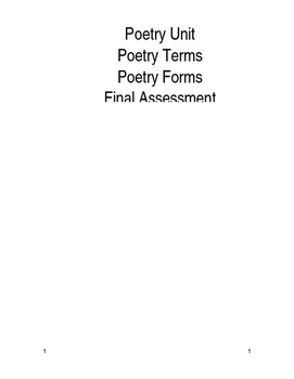 Short Poetry Unit / Assessment / Vocabulary