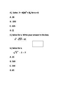 Short Quiz for Beginning Algebra I