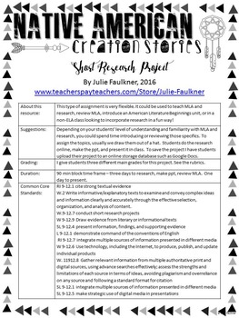 Short Research Project: Native American Short Creation Stories