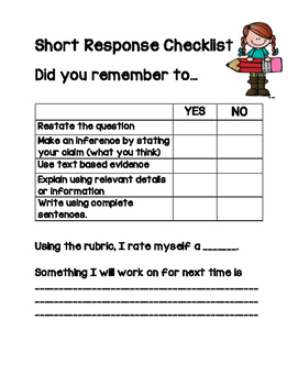 short answer response worksheets