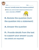 Short Response Questions on ELA Assessments: R.A.P. Strategy