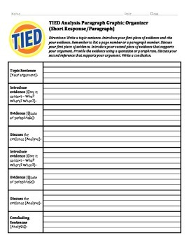 Short Response TIED Paragraph Graphic Organizer