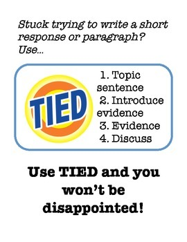 Short Response TIED Paragraph Graphic Organizer Ad for Bulletin Boards