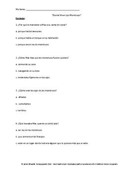 Donde Viven Los Monstruos: Short Simple Vocab and Comprehension Questions