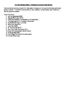 Short Stories Holidays & Important Dates - Hi Interest / Lo Readability