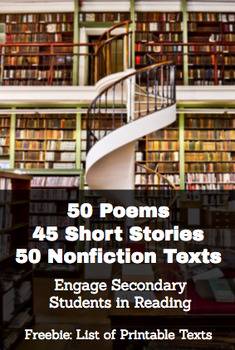 Short Stories, Poems & Informational Texts for High School Students: FREE LIST