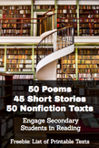 Short Stories, Poems & Informational Texts for High School