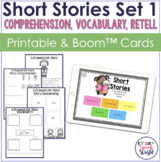 Short Stories WH Questions, Vocabulary, & Retell | Worksheets and Boom Cards™