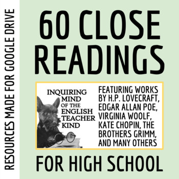 Short Stories For High School Close Reading Worksheets