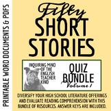 Short Stories for High School - Quiz Bundle (Includes Test & Key)