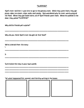 Short Stories (for Wh- Questions, Inferences, Sequencing, & Main Idea)