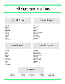 Short Story Activity for Speech Therapy - All Summer in a Day, Ray Bradbury