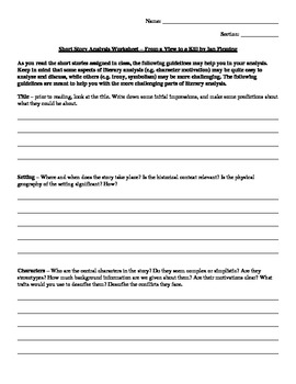 Short Story Analysis Worksheet - From a View to a Kill by Ian Fleming