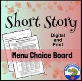 Short Story Menu Choice Board with Rubric