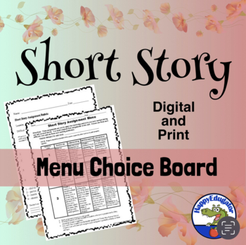 Short Story Menu Choice Board with Rubric