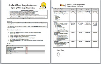 Short Story Assignment - Rubric Included