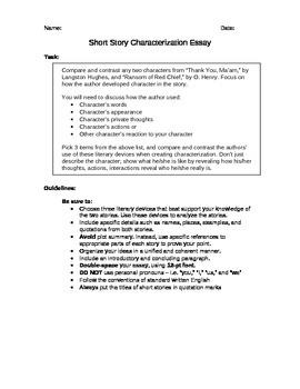 Short Story Characterization Analysis Essay