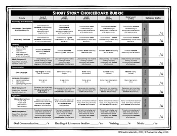 Short Story ChoiceBoard (+ Rubric)
