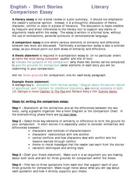 Short Story Comparison Essay Assignment Handout By Relentless Innovation Short Story Comparison Essay Assignment Handout