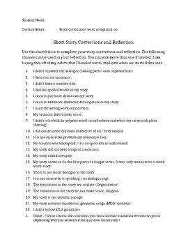Short Story Corrections and Reflection