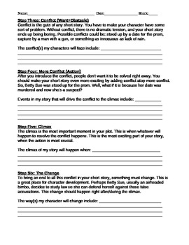 Short Story Creative Writing Packet- Assignment, Planning & Rubric