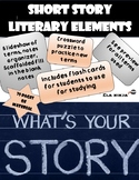 Short Story Elements : Notes, note taker, flashcards, and crossword puzzle