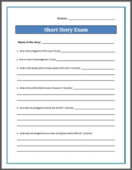 Short Story Exam - Works with ANY story