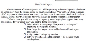 Short Story Group Project Guidelines and Rubric (American Literature)