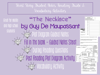 """Short Story Guided Notes & """"The Necklace"""" Lessons"""