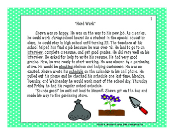 "Short Story ""Hard Work"" with Comprehension Questions"