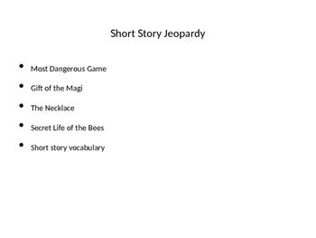 "Short Story ""Jeopardy"" Game"