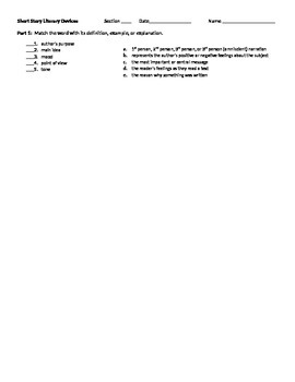 Short Story Literary Devices Worksheet or Quiz