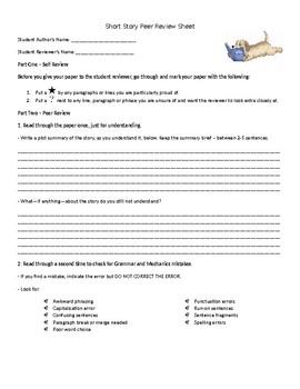 Short Story Peer Review Worksheet