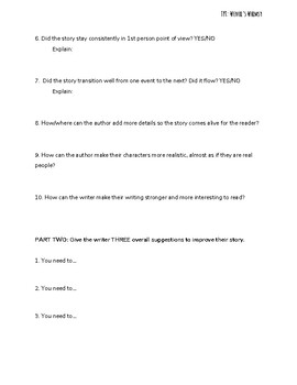 Short Story Peer Review Worksheet (Lesson Plan Included, Grade 6 CCSS-Aligned)