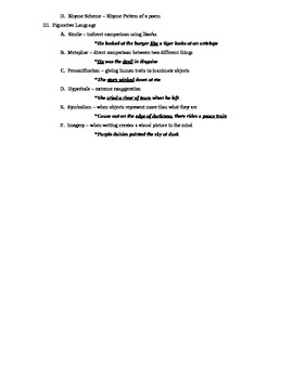 Short Story & Poetry Terms - Outline