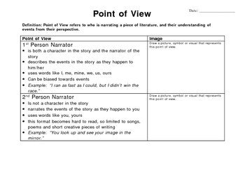Short Story - Point of View graphic organizer