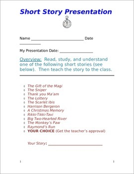 Short Story Presentation (WORD DOC)- Great Deal!