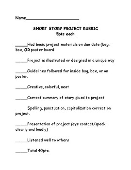 Short Story Project Guidelines and Rubric