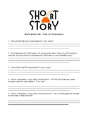 Short Story Sheet #2 - Cast of Characters