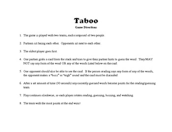 Short Story Taboo Review Game